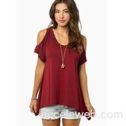 Women cold shoulder tops claret cotton shirt loose t shirt